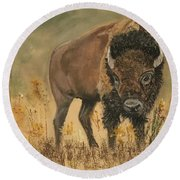 Buff Buffalo  Round Beach Towel
