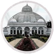 Buffalo And Erie County Botanical Gardens Ink Sketch Effect Round Beach Towel