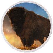 Buffalo At Dawn Round Beach Towel