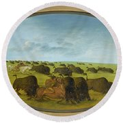 Buffalo Chase With Accidents Round Beach Towel