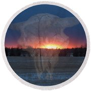 Buffalo Ghosts Round Beach Towel
