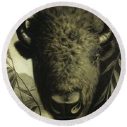 Buffalo Head Round Beach Towel