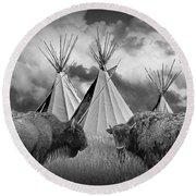 Buffalo Herd Among Teepees Of The Blackfoot Tribe Round Beach Towel