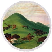 Buffalo Hunt, 1830s Round Beach Towel