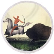 Buffalo Hunt, 1832 Round Beach Towel