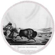Buffalo Hunt, 1837 Round Beach Towel