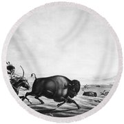 Buffalo Hunt, C1830 Round Beach Towel