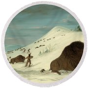 Buffalo Lancing In The Snow Drifts. Sioux Round Beach Towel