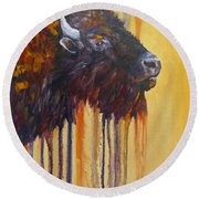 Buffalo Mania Round Beach Towel