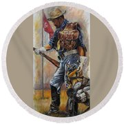 Buffalo Soldier Outfitted Round Beach Towel by Harvie Brown