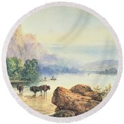 Buffalo Watering Round Beach Towel