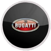 Bugatti - 3 D Badge On Black Round Beach Towel