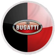 Bugatti 3 D Badge On Red And Black  Round Beach Towel