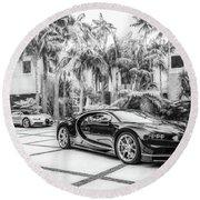 Bugatti Chiron 5 Round Beach Towel