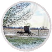 Buggy Alone In Winter Round Beach Towel