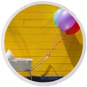 Buggy And Yellow Wall Round Beach Towel by Garry Gay