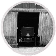 Buggy In The Barn Round Beach Towel