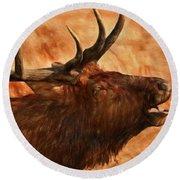 Bugling Bull Elk Autumn Background Round Beach Towel