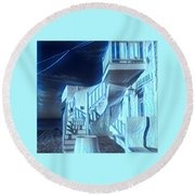 Building At Harbour  Round Beach Towel by Colette V Hera Guggenheim