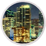 Building At Night With Lights Round Beach Towel