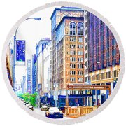 Building Closeup In Manhattan 18 Round Beach Towel