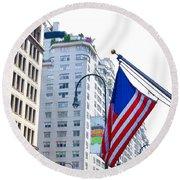 Building Closeup In Manhattan 9 Round Beach Towel