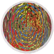 Building Of Circles And Waves Colored Yellow Red And Blue Round Beach Towel