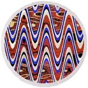 Building With Reflections Abstract Round Beach Towel