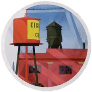 Buildings Abstraction Round Beach Towel