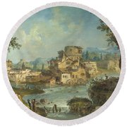 Buildings And Figures Near A River With Rapids Round Beach Towel