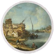 Buildings And Figures Near A River With Shipping Round Beach Towel