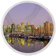 Buildings Lit Up At Dusk, Vancouver Round Beach Towel