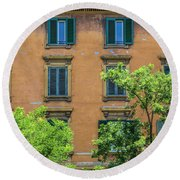 Buildings Opposite The Vatican Museum Round Beach Towel