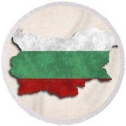 Bulgaria Map Art With Flag Design Round Beach Towel