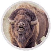 Bull Bison Round Beach Towel