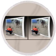Bull Challenge - Gently Cross Your Eyes And Focus On The Middle Image Round Beach Towel