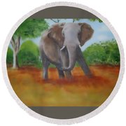 Bull Elephant Round Beach Towel
