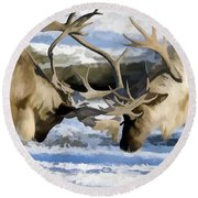 Bull Elk Fighting  Round Beach Towel