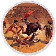 Bull Fight In Mexico 1889 Round Beach Towel