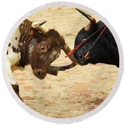 Bull Fight Round Beach Towel