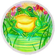 Bull Frog And The Moon Round Beach Towel