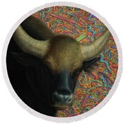 Bull In A Plastic Shop Round Beach Towel by James W Johnson
