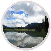 Bull Lake Cloud Reflection Round Beach Towel
