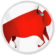 Bull Looks Like Cave Painting Round Beach Towel by Michal Boubin