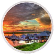 Bull River Marina Sunrise 2 Sunrise Art Round Beach Towel