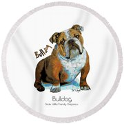 Bulldog Pop Art Round Beach Towel