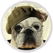 Bulldog Portrait, Animals In Clothes Round Beach Towel