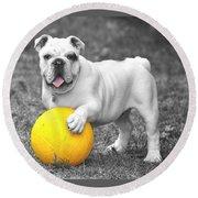 Bulldog Soccer Round Beach Towel
