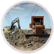 Bulldozer And Excavator On Road Construction Round Beach Towel