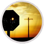 Bullet-riddled Stop Sign Round Beach Towel